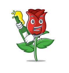 With beer red rose mascot cartoon vector