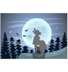 wolf howling on moon at night happy halloween vector image