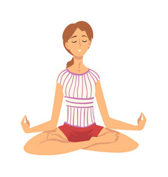 Woman safe balance with meditation relaxation vector