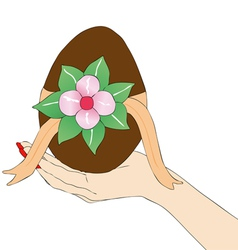 Womans hand with Easter egg vector image