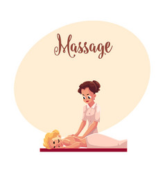 young woman having relaxing back massage lying on vector image