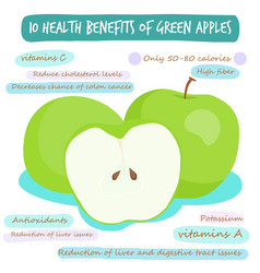 10 health benefits of green apple vector image vector image