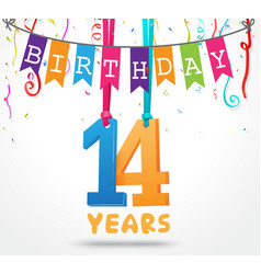 14 years birthday celebration greeting card design vector image vector image