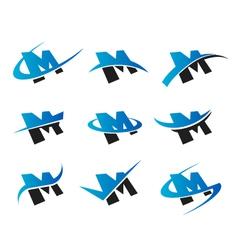 Alphabet m logo icons vector