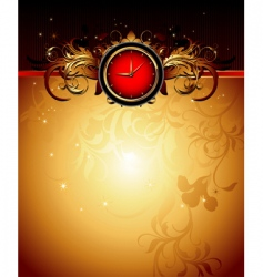 clock frame with floral vector image vector image