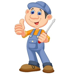 Cute mechanic cartoon holding a screwdriver and gi vector image vector image