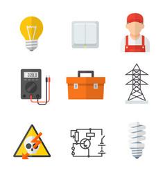 electrician industry icon cartoon set vector image