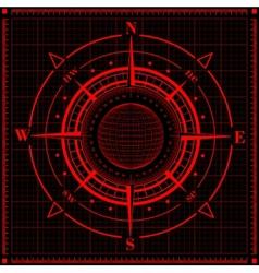 Radar compass rose with globe vector