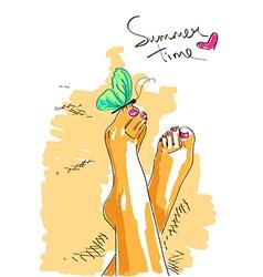 Bare feet of girl vector image