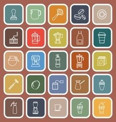 Barista line flat icon on brown background vector image vector image