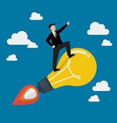 Businessman on a moving lightbulb idea rocket vector image vector image