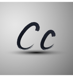 calligraphic hand-drawn marker or ink letter C vector image