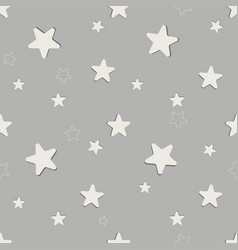 seamless stars pattern on gray background vector image