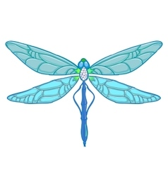 Blue Dragonfly on white background vector image