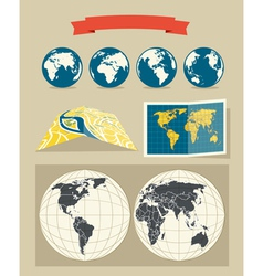Collection of retro style world and city maps vector image vector image