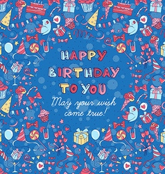 Happy birthday party greeting card with hand drawn vector image vector image