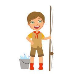 happy boy scout with a fishing rod and bucket a vector image vector image