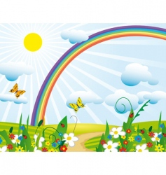 rainbow over the flowering meadows vector image