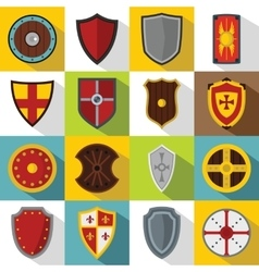 Shield frames icons set flat style vector image