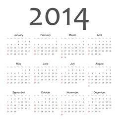 Simple vactor calendar 2014 vector image