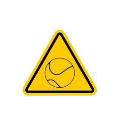 attention tennis danger yellow road sign games vector image