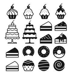 bakery cakes icons set vector image vector image