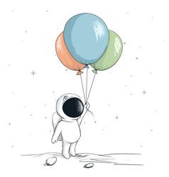 cute spaceman keeps a balloons vector image vector image