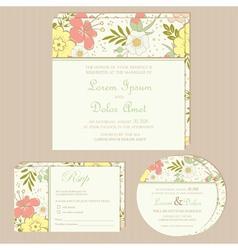 floral wedding invitation set vector image vector image