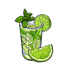 lime quarter and glass of juice mojito cocktail vector image vector image