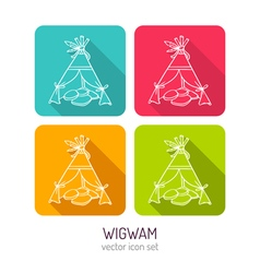 line art wigwam icon set in four color variations vector image