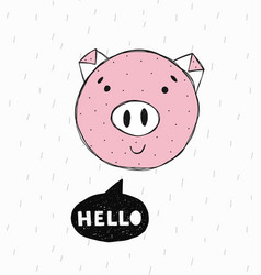 poster with hand drawn funny piggy vector image vector image