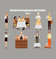 restaurant workers cartoon characters people work vector image vector image