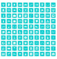 100 school icons set grunge blue vector image