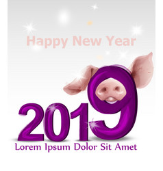 2019 watercolor pig year card snowy blurry vector image