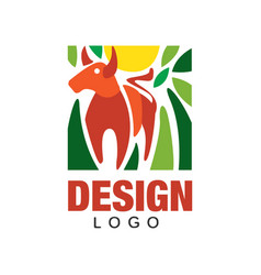 abstract logo design with red bull sun and green vector image