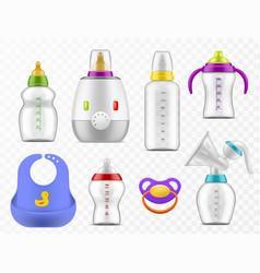 Baby food accessories realistic milk bottles vector