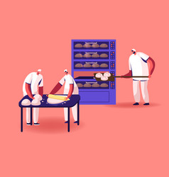 Bakery factory and food production concept bakers vector