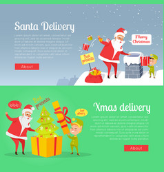 Best presents of santa xmas delivery on postcard vector