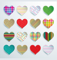 Big set of 16 colorful scrapbook hearts vector image