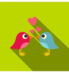 Blue and pink birds with hearts icon flat style vector image