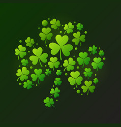Bright shamrock made of green clover icons vector