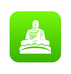 Buddha statue icon digital green vector