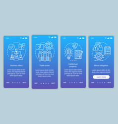 Business ethics onboarding mobile app page screen vector
