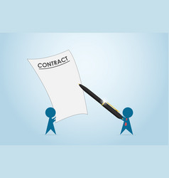 Businessman holding pen to signing contract vector