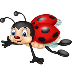 cartoon ladybug flying isolated on white backgroun vector image