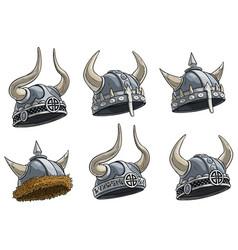cartoon metal viking helmet with horns set vector image