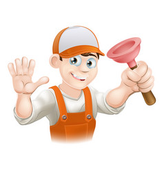 cartoon plumber holding plunger vector image