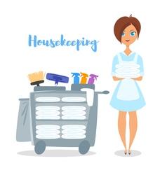 Cartoon style of hotel housekeeper vector