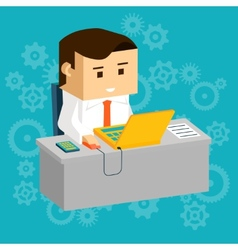 Cartooned Businessman at Working Table with Laptop vector