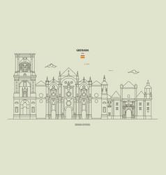 Cathedral granada spain vector